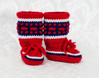 Montreal Canadiens Inspired Baby Boots-Knitted Baby Booties- Hockey Baby Boots - Baby Shower Gift - Baby Gift Idea - Warm Baby Booties