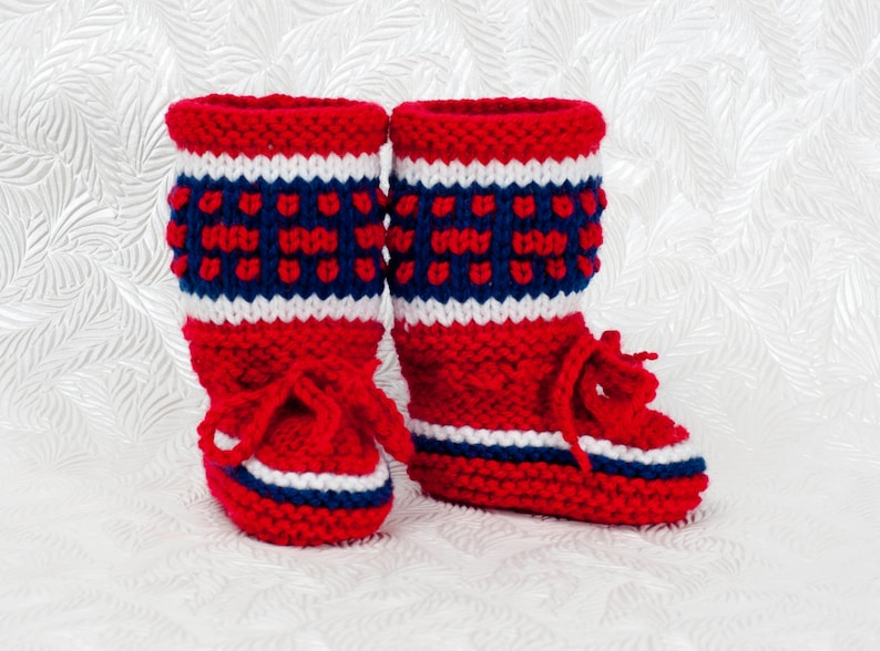 Montreal Canadiens Inspired Baby Boots-Knitted Baby Booties image 0