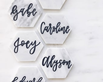 "Marble Hexagon 4"" Tile Place Cards 