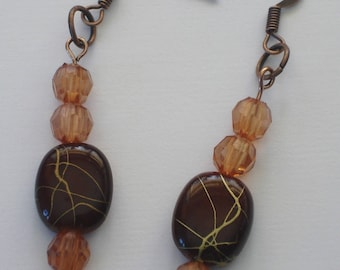 Handmade Bead Earrings, aged copper/brown/gold earrings