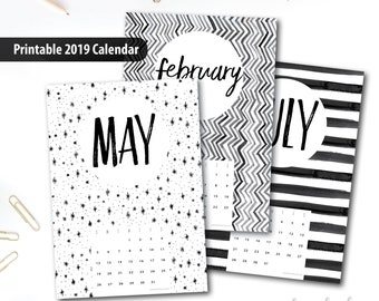 2019 Printable Calendar A4 Instant Download 12 Month New Etsy
