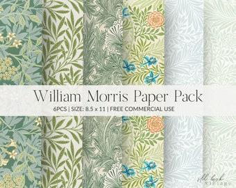 Scrapbooking Paper Vintage William Morris Design Decoupage Paper Craft Paper 8.5 x 11 Two Sheets Floral Gift Wrap Paper