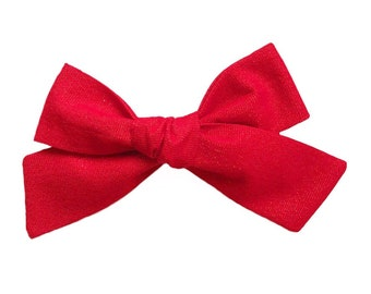 4d3ecfd2fa74 Baby Girl, Toddler, Girls Fabric Bow Headband or Hair Clip - Ruby Metallic