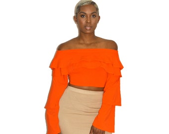 Orange Ruffle Off Shoulder Top