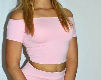 Petal Pink Off Shoulder Crop Top