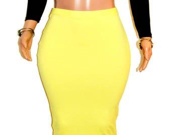 Cute Sun Yellow Extra Long Midi Pencil Skirt