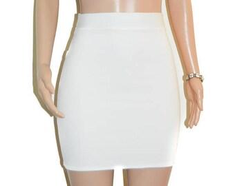 Cute Ivory Ponte Knit Skirt