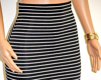Black & White Striped Pencil Skirt