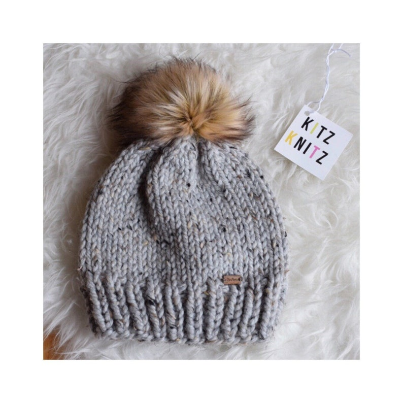 d05f290bf1b Classic Knit Toque Knitted Hat Pom Pom Hat Chunky Knit