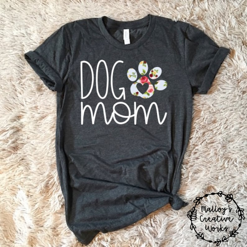 fccf9df35b8e0 Dog Mom Floral Graphic T-Shirt Graphic Tees for Women