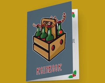 funny christmas card reinbeer reindeer pun christmas pun fun christmas idea funny xmas cards punny cards play on words beer lovers