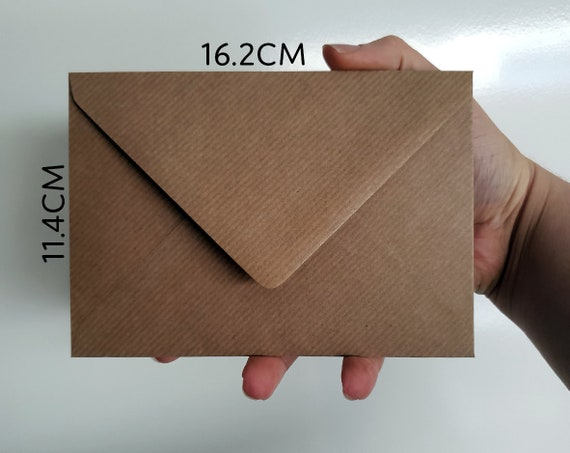 C6 Brown Ribbed Kraft Envelopes Fits A6 Greeting Cards Invitations 114mm x 162mm
