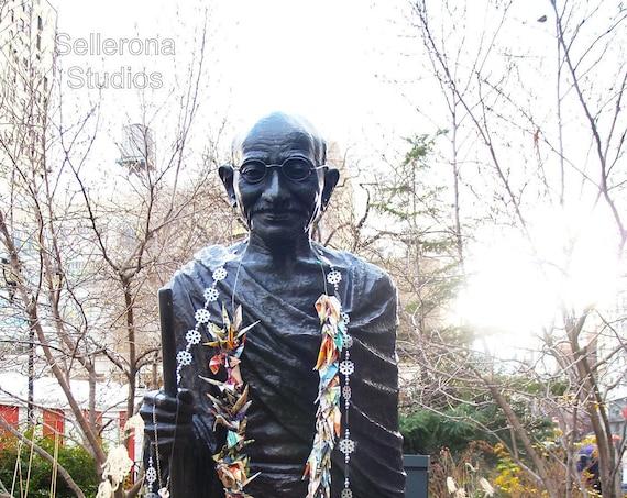 Gandhi Statue with Paper Cranes