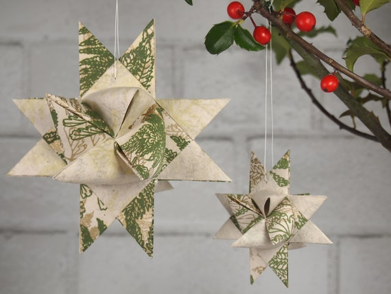Olive and Gold Fern Christmas Star Ornament
