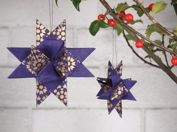 Purple and Gold Christmas Star Ornament