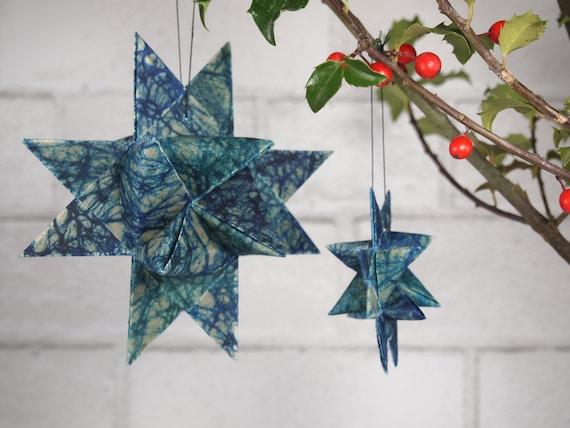 Blue and Turquoise Batik Christmas Star Ornament