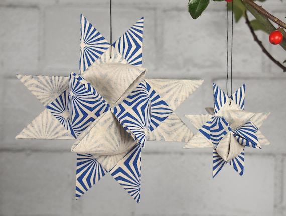 Blue and White Starburst Christmas Star Ornament