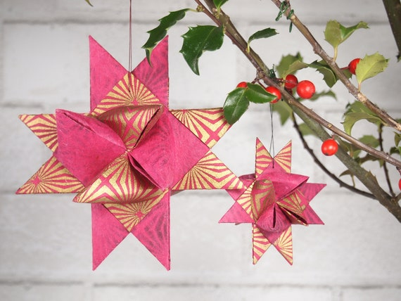 Pink and Gold Starburst Christmas Star Ornament