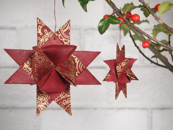 Red with Gold Henna Christmas Star Ornament