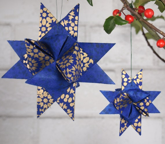 Blue and Gold Christmas Star Ornament