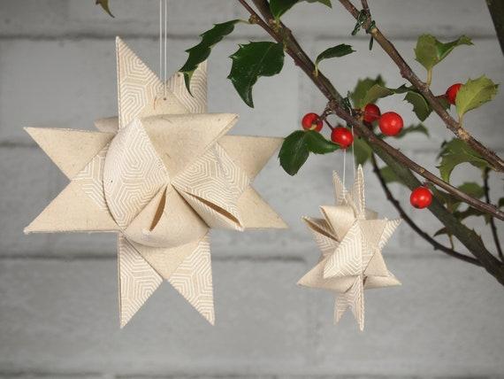 White Geometric Lines Christmas Star Ornament