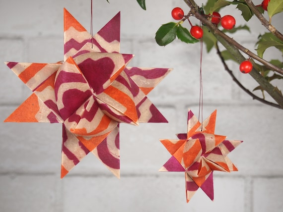 Hot Pink and Orange Christmas Star Ornament