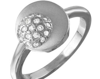 Circle in Cirlce Design Signet Diamond Ring in 14k White Gold (Size 6.5)