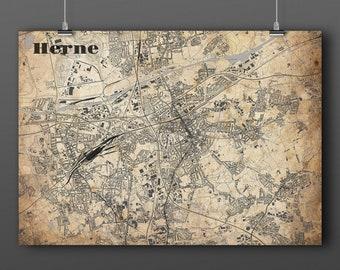 Herne Karte.Ruhr Map Etsy