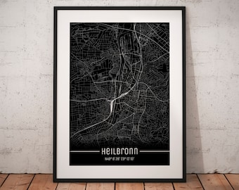 Heilbronn Karte Stadtplan.Deutschlandkarte Etsy
