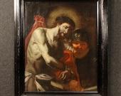 Antique Italian religious painting ecce homo from 18th century