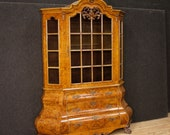 Dutch display cabinet in burl walnut, beech and mahogany wood