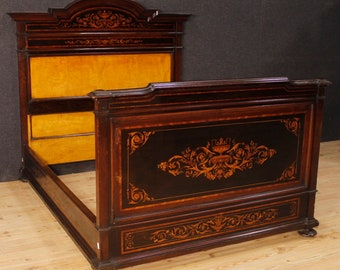 Italian bed in inlaid wood