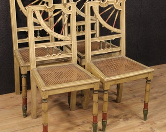 Group of four Spanish lacquered chairs