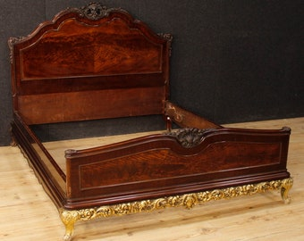 Spanish bed in golden mahogany wood