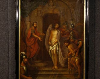 Antique French religious painting Passion of Christ from 18th century