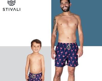 Trum Namii Boys Quick Dry Swim Trunks Tropical Plants Painted Shorts