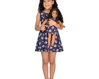 Girl and Doll Matching outfit - Blue Dress with Flowers