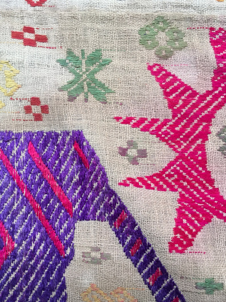 Vintage tribal White Thai textile silk cotton blanket in Nghe an province,bordering between Lao and Vietnam