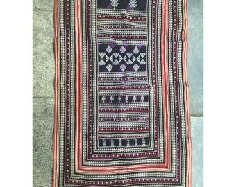 Vintage tribal RedDao embroidery piece in LaoCai ,Sapa,PhongTho area,Vietnam
