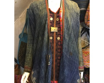 Vintage tribal Red Dao women necktie in Sapa area,LaoCai province,in the north of Vietnam
