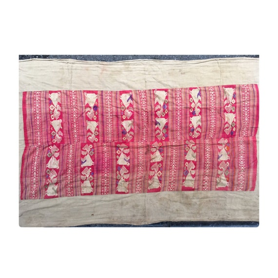 Vintage tribal White Thai textile silk cotton blanket in Nghe an province,in the Centre of Vietnam