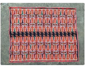 Vintage tribal RedDao embroidery piece in CaoBang area,in the north of Vietnam