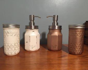 Shabby Chic Decor, Bathroom Decor, Mason Jar Decor, Soap Dispensers, Bathroom Set