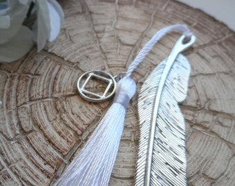 Recovery Sobriety Bookmark - AA, NA, Alcoholics Narcotics Anonymous, White Tassel, Feather Bookmark