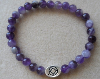 Recovery Sobriety Bracelet Jewelry - AA, NA, Alcoholics Narcotics Anonymous, Slide Bead Charm, Dogtooth Amethyst