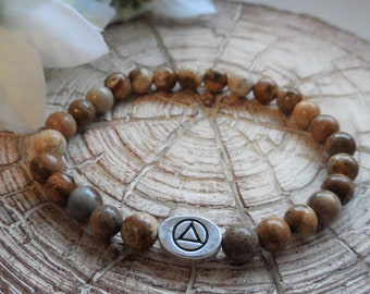 Recovery Sobriety Beaded Bracelet - AA, NA, Alcoholics Anonymous, Narcotics Anonymous, Picture Jasper, Slide Bead