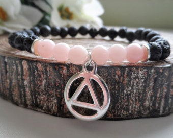 Recovery Sobriety Bracelet Jewelry - AA, NA, Alcoholics Narcotics Anonymous, Black Lava Rock, Pink Opal Gemstone