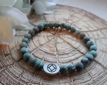 Recovery Sobriety Beaded Bracelet - AA, Alcoholics Anonymous, NA, Narcotics Anonymous, Matte African Turquoise, Slide Bead
