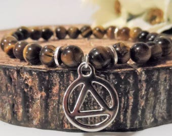 Recovery Sobriety Bracelet Jewelry - AA, NA, Alcoholics Narcotics Anonymous, Sober Gifts, Tiger's Eye Gemstone