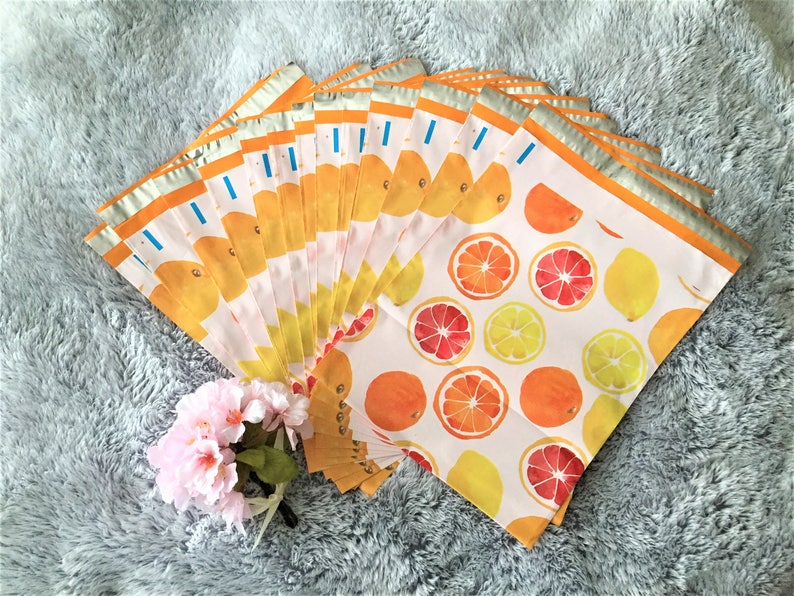 10x13 Designer Poly Mailer Shipping Mailers Water Resistant Shipping Tear Proof Lightweight Self Seal 20 Pcs Orange Citrus